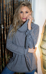 heather gray loose fit sweatshirt brushed fabric