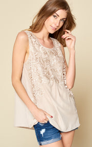LACE TANK WITH BACK BUTTON UP