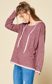 French terry hoodie boat neck top burgundy