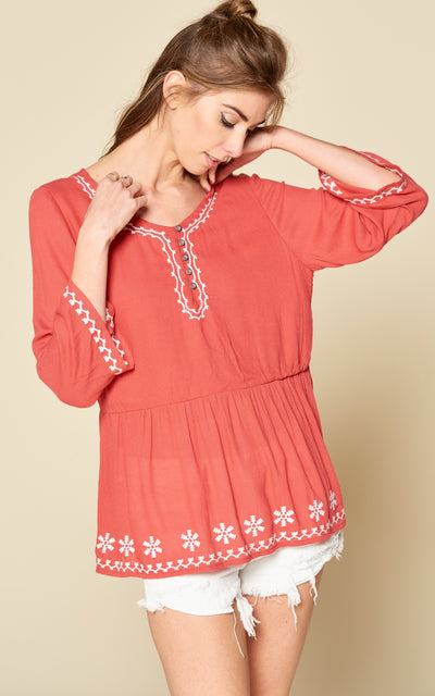 CORAL BLOUSE EMBROIDERY BUTTON UP