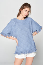 DUSTY BLUE FRINGE KNIT TOP
