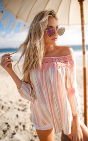 PINK SORBET OFF SHOULDER TOP
