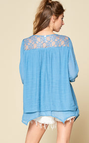 BLUE DOUBLE LAYERED LACE TOP WITH POM POM TRIMS