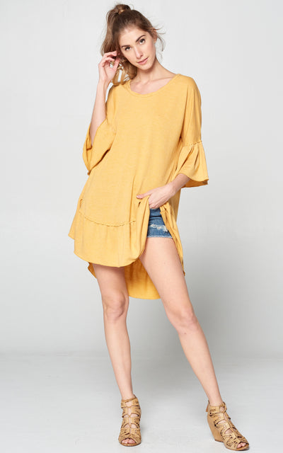 HONEY RUFFLED TUNIC TOP