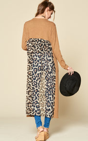 LEOPARD BACK DETAIL MAXI CARDIGAN