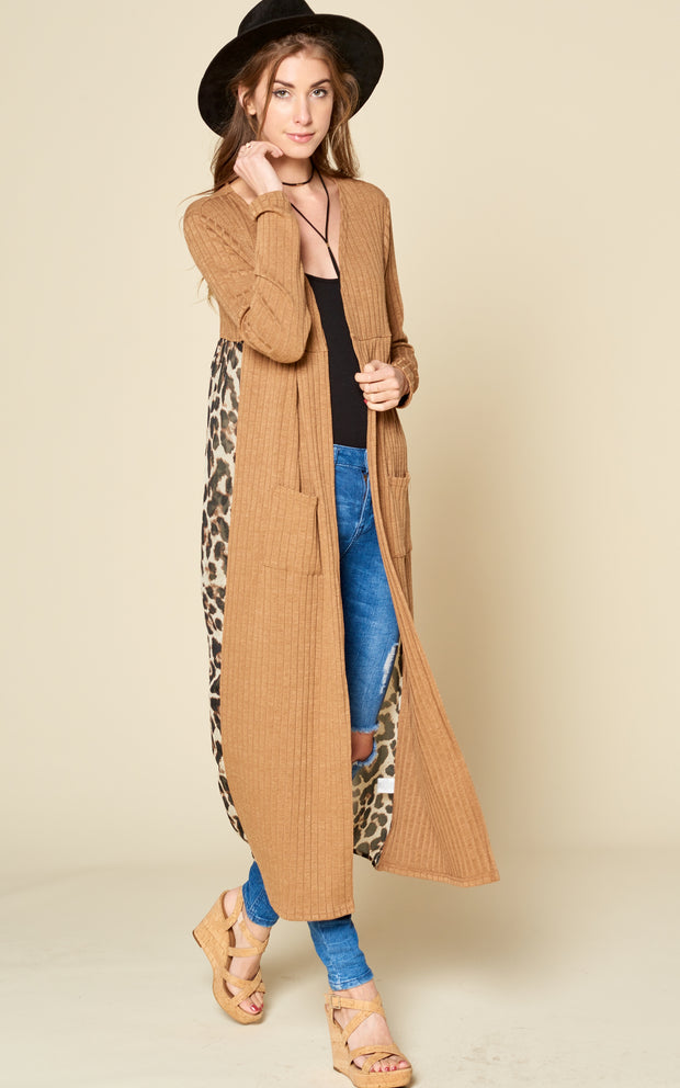 RIBBED MAXI LONG CARDIGAN LEOPARD ANIMAL PRINT MOCHA