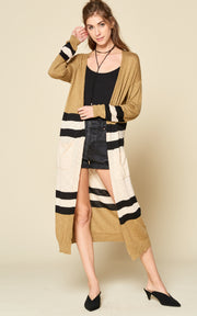 STRIPE SOLID MIXED MAXI CARDIGAN
