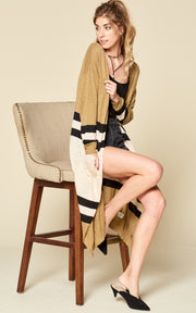 STRIPE COLORBLOCK CARDIGAN