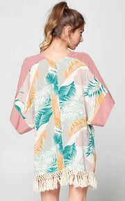 TROPICAL CARDIGAN FRINGE PINK BEACH TRAVEL PARTY
