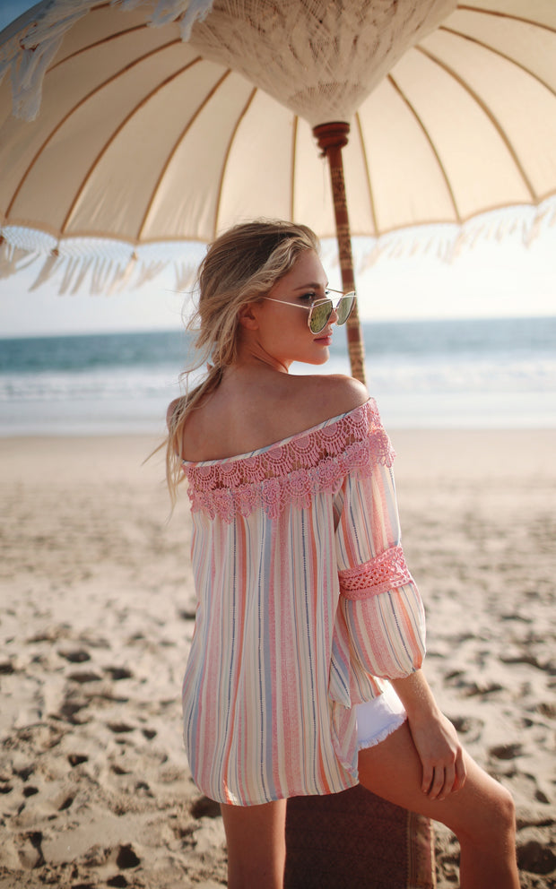 PINK STRIPE OFF SHOULDER LACE TOP