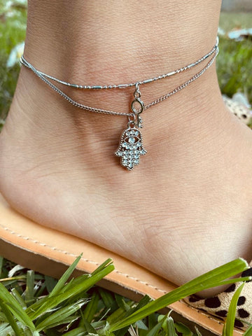 Hamsa Hand - Anklets (Silver)