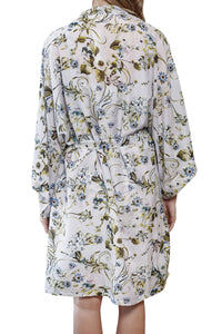 Alyssa cotton silk Kimono Robe has wide sleeves and a tie wist belt. back