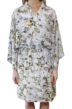 Load image into Gallery viewer,  Alyssa cotton silk Kimono Robe has wide sleeves and a tie wist belt. front