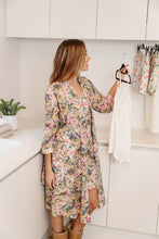 Load image into Gallery viewer, The Ava floral design cotton/silk dressing gown is soft and luxurious, with it's classic cross over style with tie waist and side pockets.
