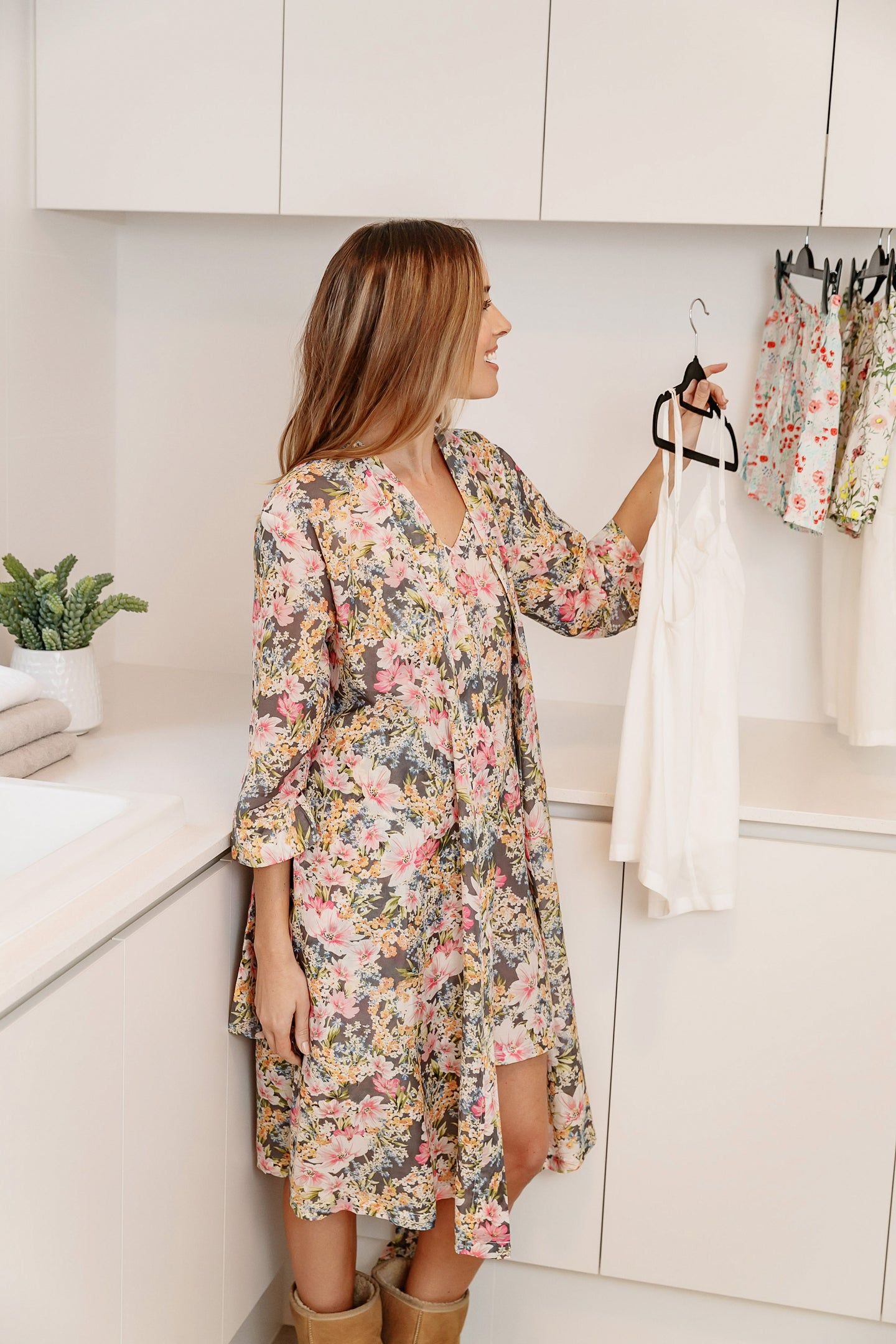 The Ava floral design cotton/silk dressing gown is soft and luxurious, with it's classic cross over style with tie waist and side pockets.