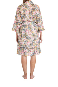 Ava cotton silk robe with a pink floral design, side pockets, tie belt to waist and below the knee in length. back
