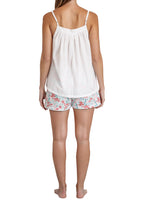 Load image into Gallery viewer, White cotton voile Baby Doll Camisole with adjustable straps and V front neckline. back