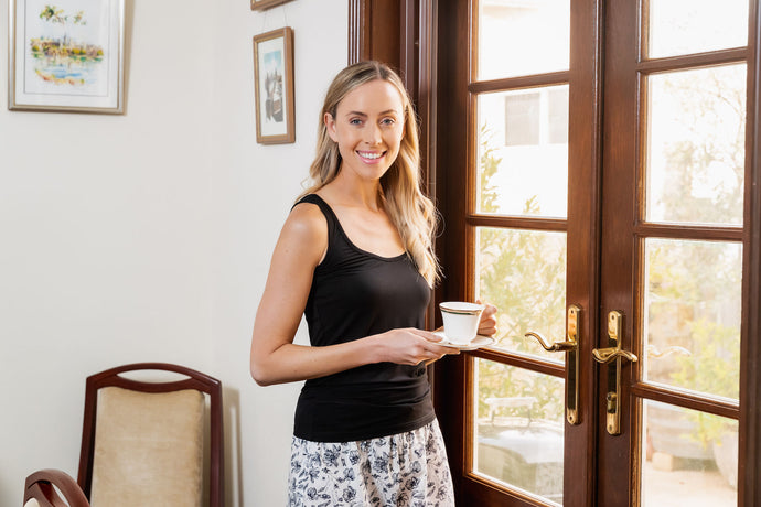 Our Bamboo Singlet is soft, comfortable and breathable, with wide straps. Lovely to sleep in and to wear around the house.  The black singlet goes back with many of the Clementine shorts and pyjama pants.  It's also great to wear out and it hides your bra straps.  This is a definite essential piece for your wardrobe.