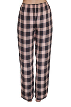 Load image into Gallery viewer, Bettina black and pink check pyjama pants with elastic to the waist and a drawstring tie. back