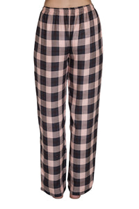 Bettina black and pink check pyjama pants with elastic to the waist and a drawstring tie. back