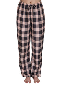 Bettina black and pink check pyjama pants with elastic to the waist and a drawstring tie. front