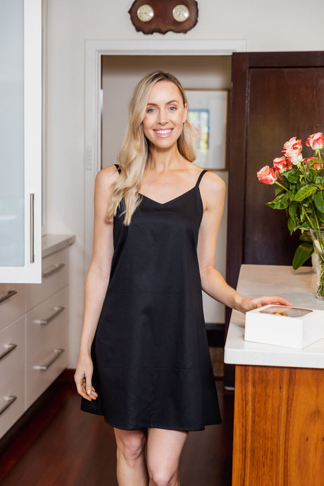 The Black Cotton Slip is made from Japanese Cotton and is perfect for under sheer summer dresses or to wear as a nightie. Great fit with side bust darts and adjustable straps.