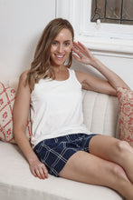 Load image into Gallery viewer, Callie Navy blue and white check pyjama shorts with drawstring and elasticised waist. front
