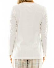 Load image into Gallery viewer, Cream Cotton V Neck Long Sleeve T-shirt