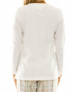 Cream Cotton V Neck Long Sleeve T-shirt