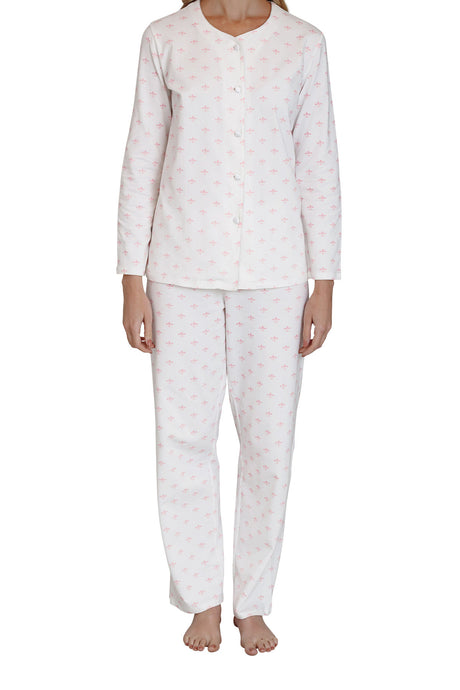Fleur-de-lis cotton knit pyjama set, satin piping and buttons to top and long sleeves, pants with elasticised waist and full length. front