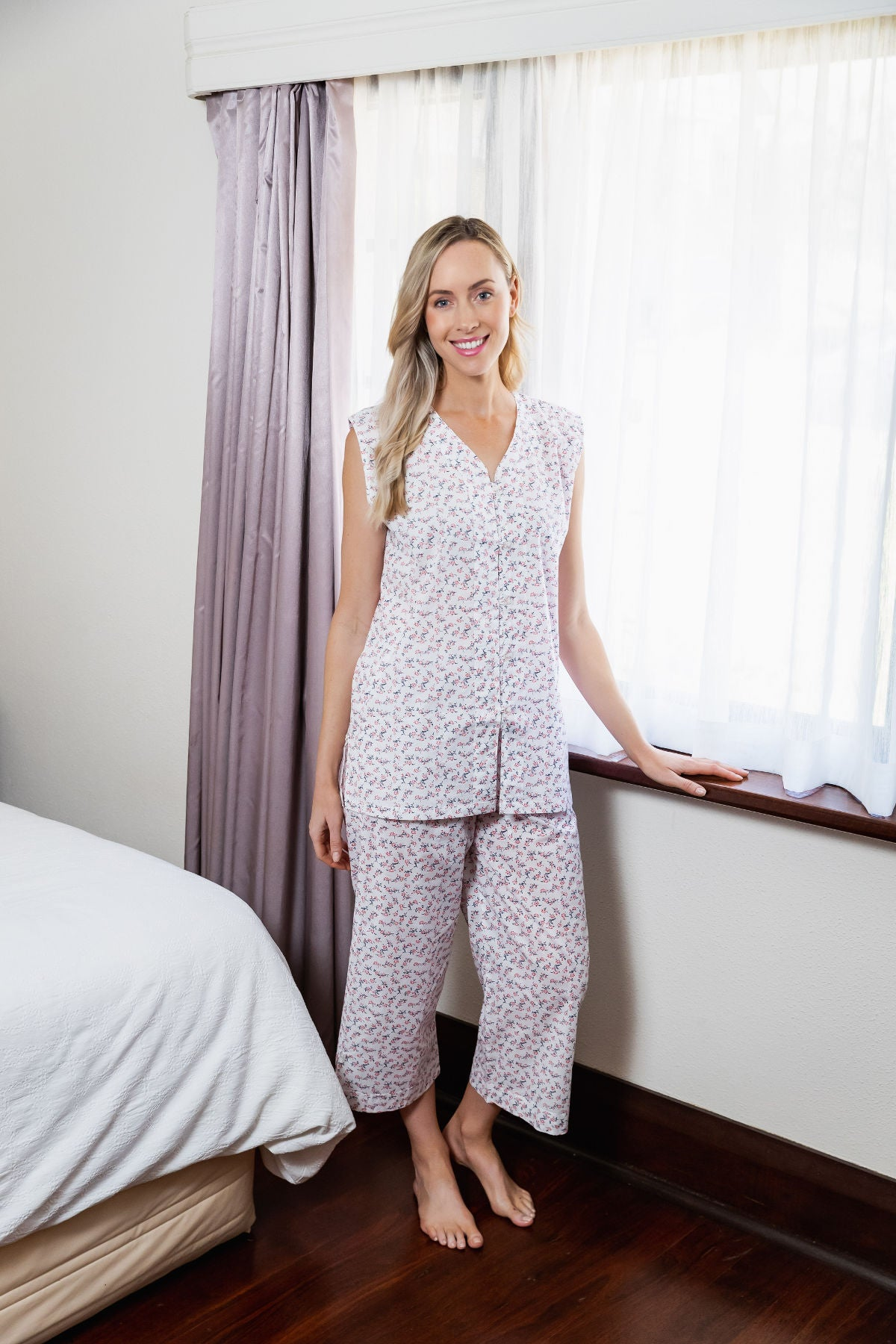 Our beautiful Gabrielle sleeveless pyjama set is made in the classic Clementine style with V button front opening top and elastic and draw string pants that are 3/4 in length.  Made from a soft cotton to keep you cool all summer long. Clementine designs are perfect for those relaxed moments at home.