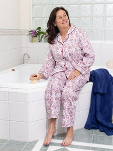 "Our ""Georgia"" cotton pyjamas are elevated this season with a beautiful burgundy white design.  Our women's pyjama sets are a stylish sleepwear addition with comfort at their core.  Crafted from 100% cotton, our floral pyjamas have a relaxed fit and feature soft elastic and drawstring waist. The beautiful print is finished with burgundy piping for a refined result.  Please note that the buttons on this pyjama set are not red."