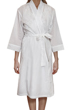 Load image into Gallery viewer,  Hail spot white cotton robe with side pockets and tie belt to waist and 3/4 sleeve.  Sits just below the knee. front