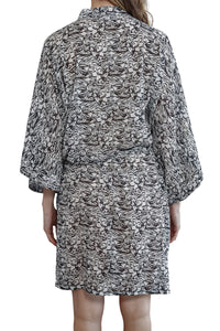 Imogen Cotton Silk Kimono Robe with black and white floral pattern and waist tie belt, back view