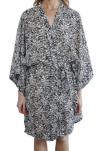 Load image into Gallery viewer, Imogen Cotton Silk Kimono Robe with black and white floral pattern and waist tie belt, front view