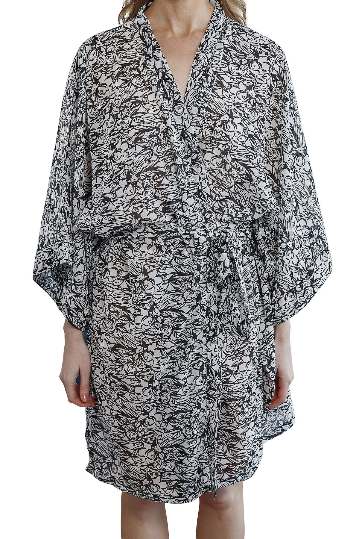 Imogen Cotton Silk Kimono Robe with black and white floral pattern and waist tie belt, front view