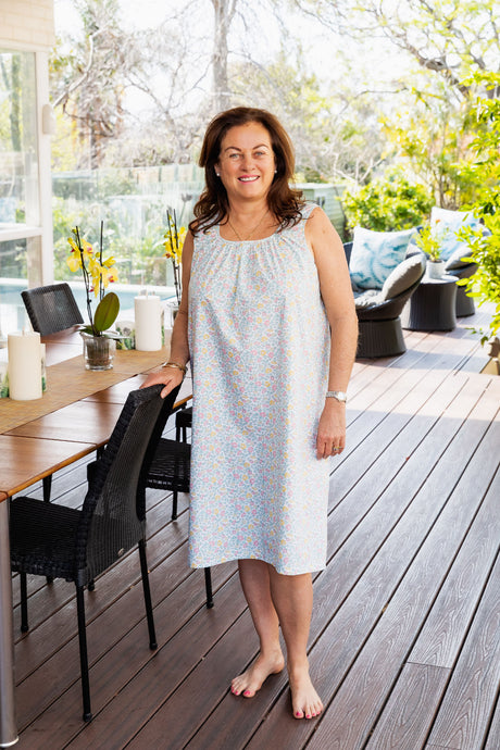 The Mavis cotton nightie has a soft floral pattern and is a beautiful simple design with a round neck and soft gathering at the centre neck line to the front and back of the nightie.  The nightie sits on the knee.