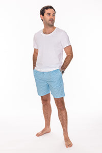 Our light-blue patterned men's pyjama shorts are crafted from 100% cotton.  Lightweight and breathable, they feature a fully elasticated waist and a drawstring made from self-fabric, two side pockets and a concealed fly.