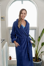 Load image into Gallery viewer, Incredibly soft and cosy, our Navy Shawl Collar fleece Dressing Gown has a tie belt and side pockets. These gorgeous robes are warm and so soft to touch.
