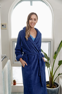 Incredibly soft and cosy, our Navy Shawl Collar fleece Dressing Gown has a tie belt and side pockets. These gorgeous robes are warm and so soft to touch.