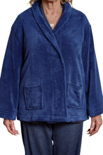 Load image into Gallery viewer, Navy Shawl Collar Bed Jacket