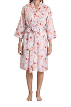 Load image into Gallery viewer,  Sophia cotton voile robe with its floral pattern, tie waist, side pockets and crosses over. front