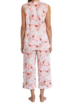 Load image into Gallery viewer, Sophia Cotton voile Sleeveless Pyjama set with V button front opening top and elastic and draw string pants that are 3/4 length. back