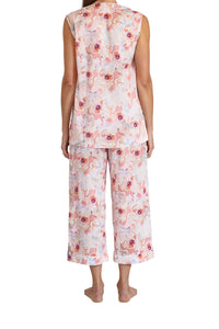 Sophia Cotton voile Sleeveless Pyjama set with V button front opening top and elastic and draw string pants that are 3/4 length. back