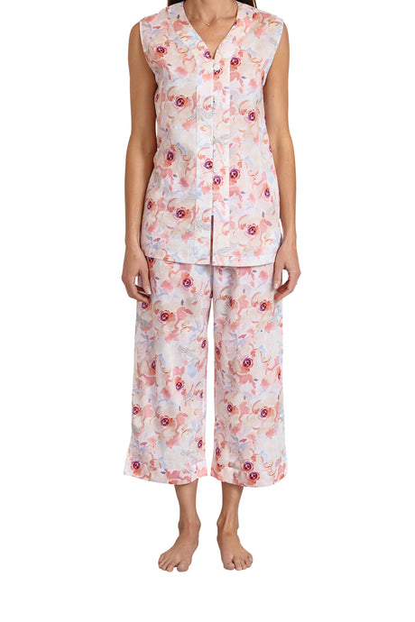 Sophia Cotton voile Sleeveless Pyjama set with V button front opening top and elastic and draw string pants that are 3/4 length. front