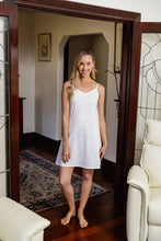Load image into Gallery viewer, The White Cotton Slip is made from Japanese Cotton and is perfect for under sheer summer dresses or to wear as a nightie. Great fit with side bust darts and adjustable straps.