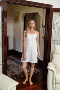 The White Cotton Slip is made from Japanese Cotton and is perfect for under sheer summer dresses or to wear as a nightie. Great fit with side bust darts and adjustable straps.