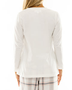 White Cotton V Neck Long Sleeve T-shirt