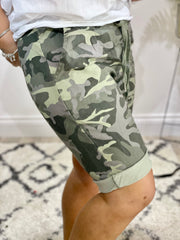 Camouflaged Magic Tie Waist Shorts
