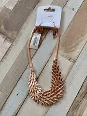 Scale Skin Rose Gold Necklace Earrings and Bracelet Set